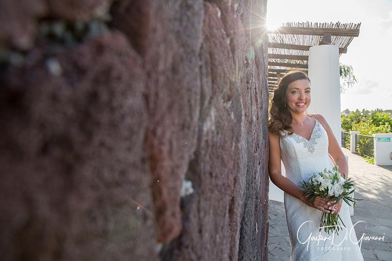 matrimonio a Stromboli: ritratto sposa