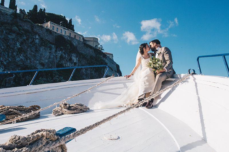 Matrimonio a Lipari: sposi in barca
